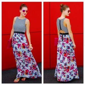 Xhileration : Stripe Floral Cutout Maxi Dress